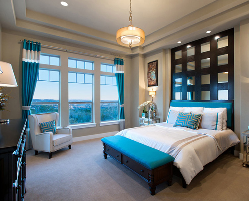 bright aquatic blue bedroom interior design