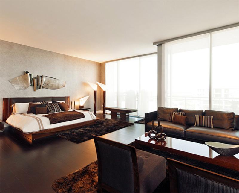 penthouse bedroom interior luxury meeting sofas coffee table