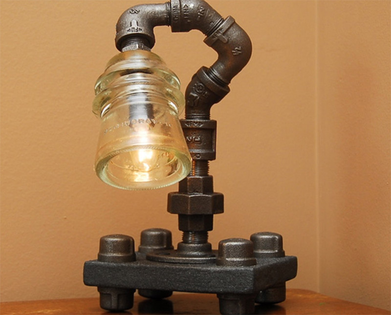 glass insulator wood base twisted desklamp