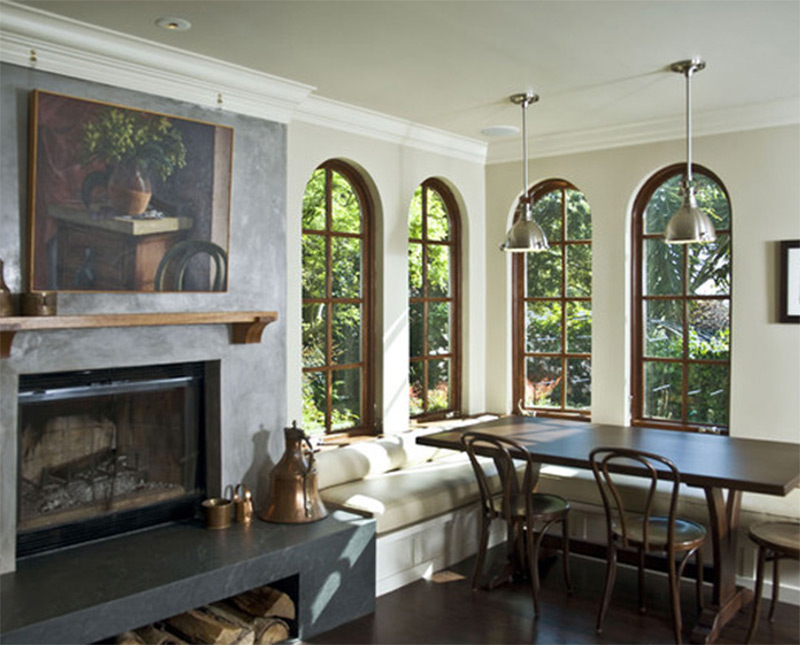 fireplace hearth fancy dining interior