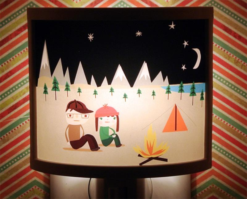 cute bedroom nightlight camping trip