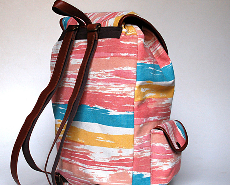 bright colorful paint abstract canvas backpack