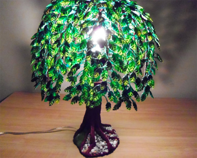 green leaves handmade tree light table lamp products customized