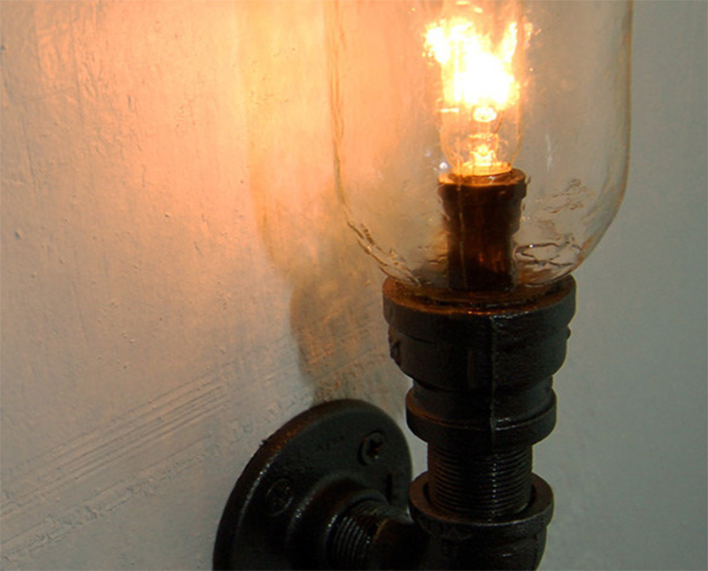 metal pipe steampunk wall light sconce