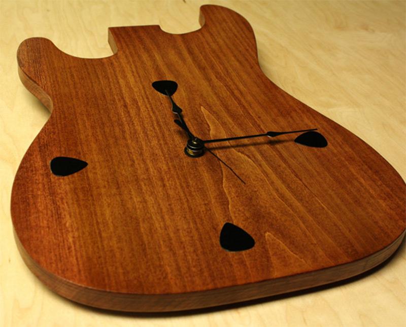 fender strat shape wooden guitar wall clock
