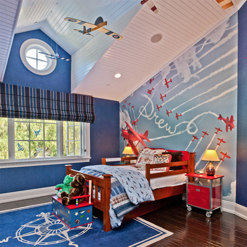 flying airplanes contrails bedroom kids interior design
