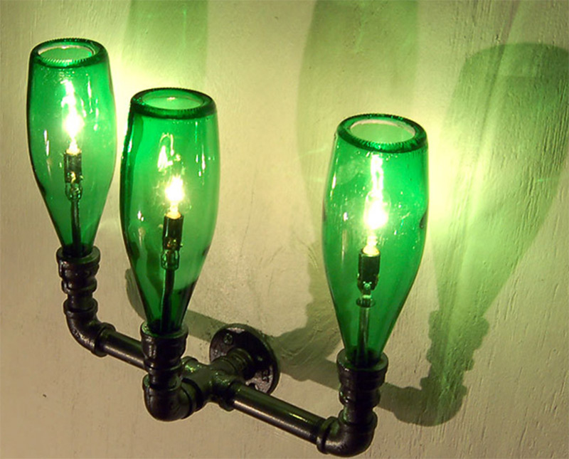 wall light bulbs lamps pipe green bottles