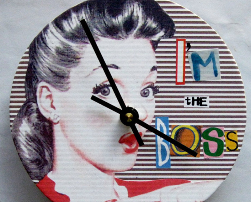 plywood vintage retro the boss woman clock