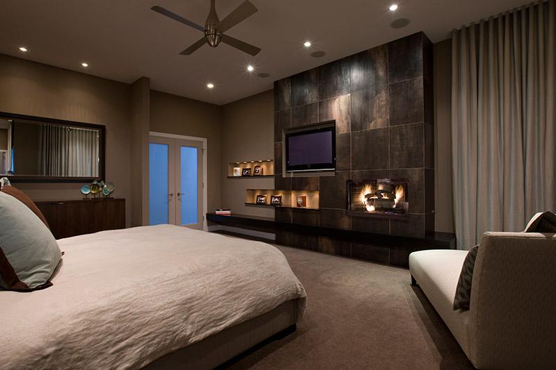 french doors recessed lighting bedroom fireplace interior