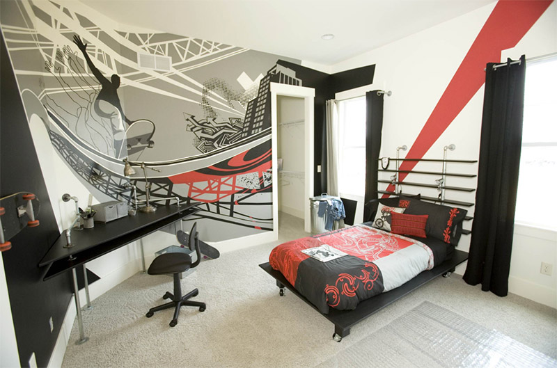 red black white skateboarding sports clean bedroom interior