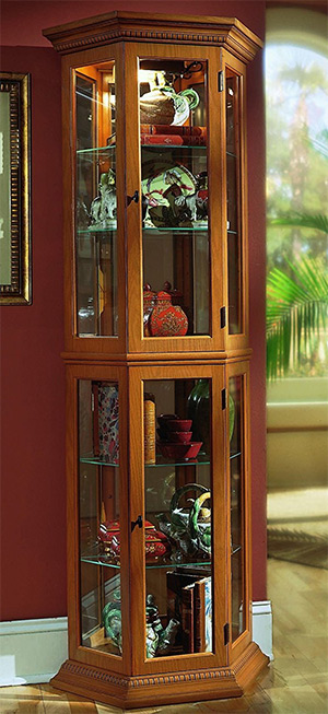 english oak pulaski curio cabinet