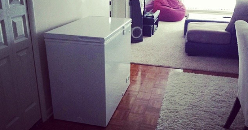 deep chest freezer in apartment