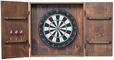 country rustic dartboard cabinet