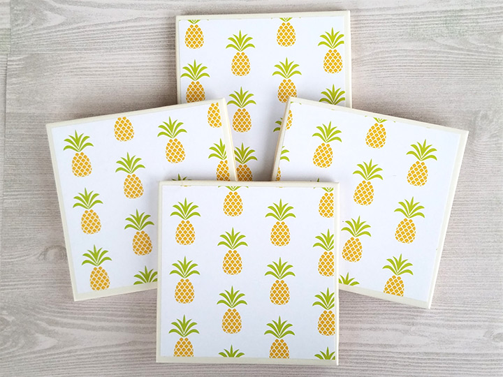 pineapple drink coasters