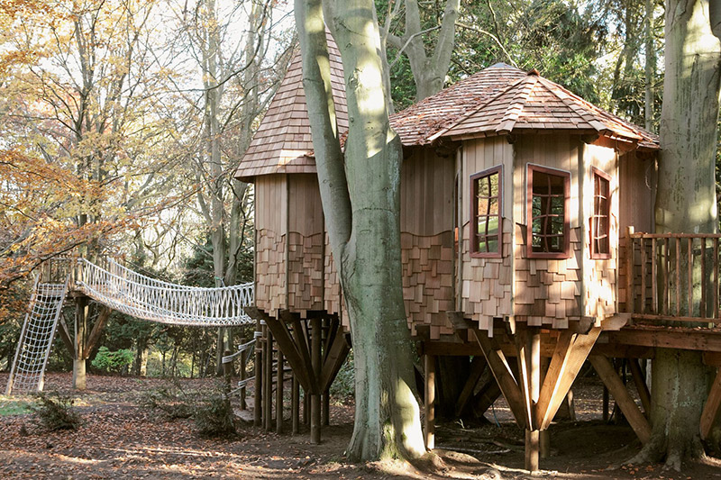 rounded treehouse with bridges