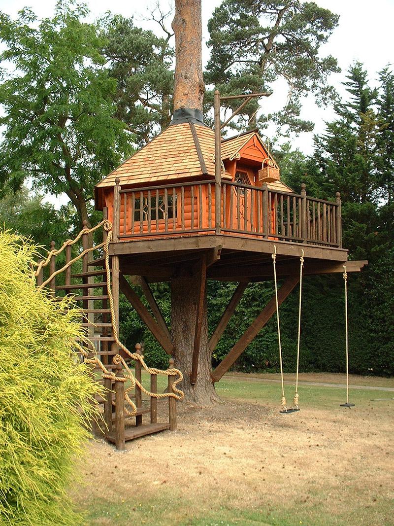 kids only treehouse in backyard