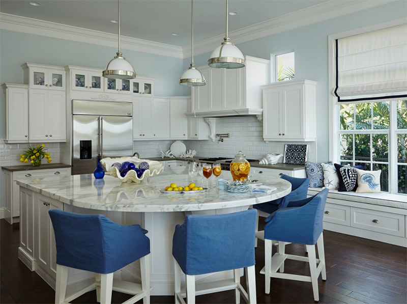 blue kitchen rounded marble counter