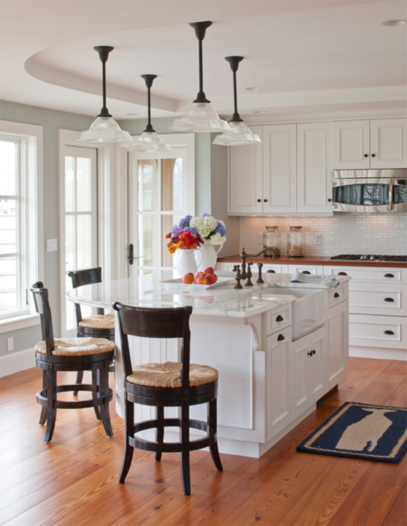 white countertop rounded design