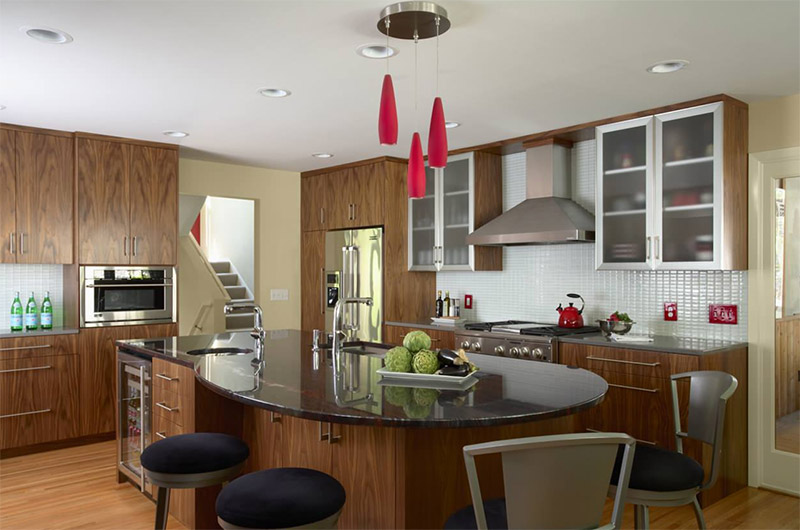 dark contemporary rounded kitchen island