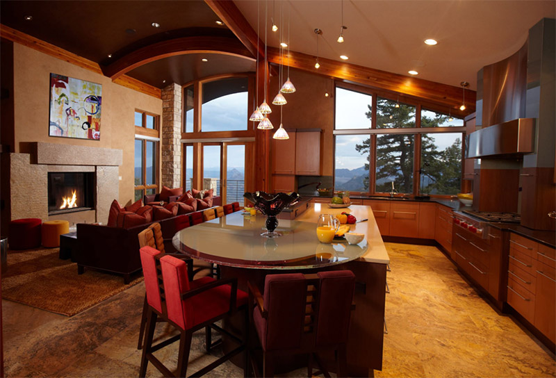 amber brown dining living space rounded island