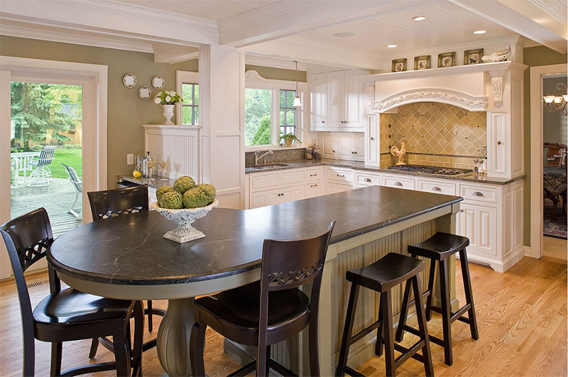 long kitchen island with circular end