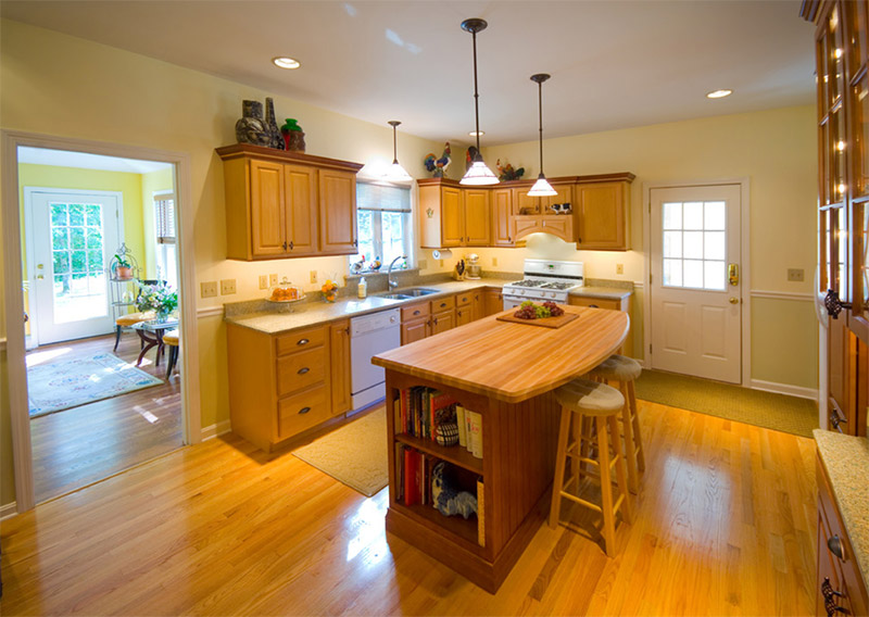 remodeled kitchen light center island