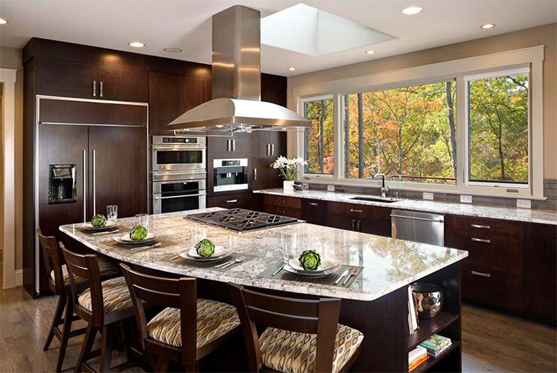 dark contemporary rounded kitchen island autumn