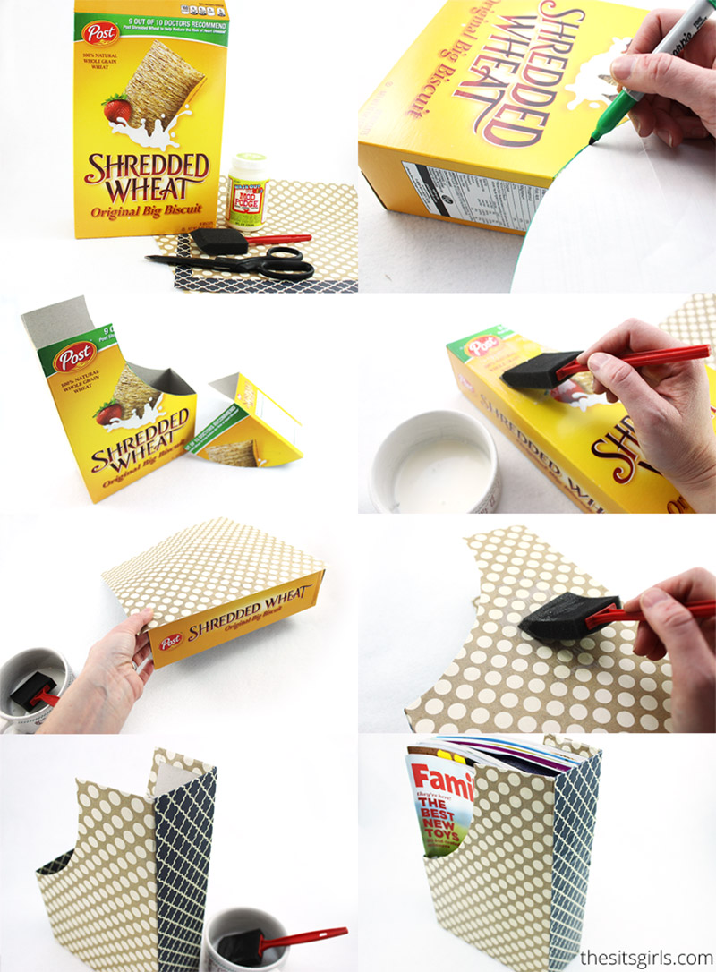cereal box diy mail organizer