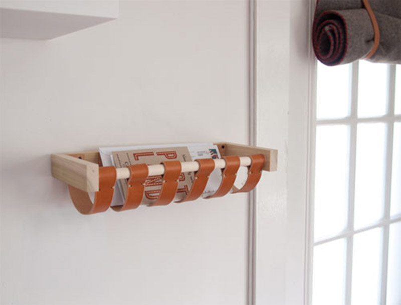 wall leather mail holder