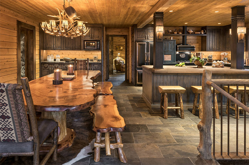 paradise rustic dining room kitchen area