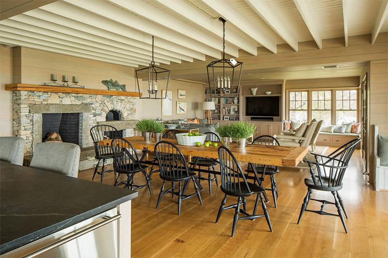 rustic dining room in marthas vineyard