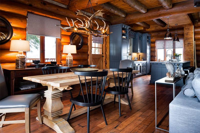 colin justin tv designers log cabin dining