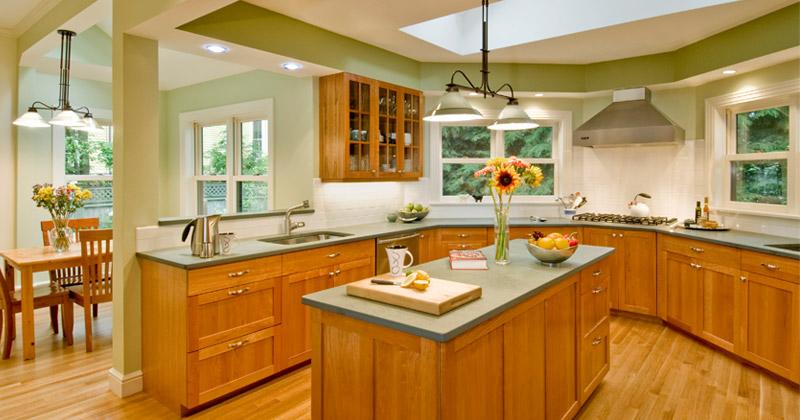 green kitchen interior