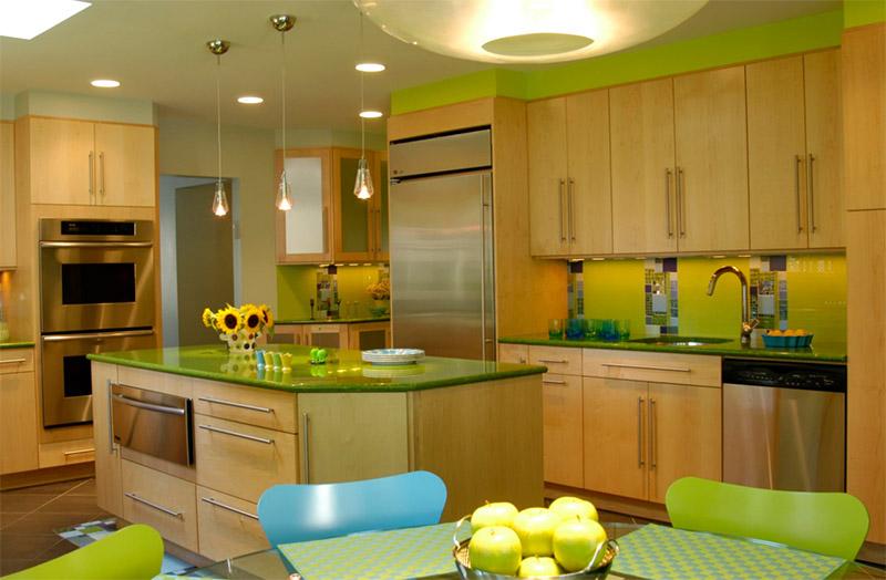 green kitchen inteiror kitchen island