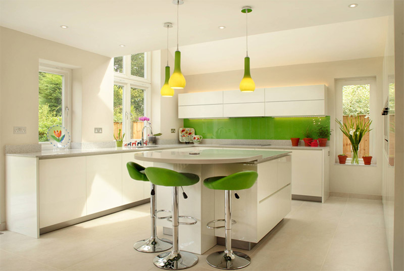 white kitchen with splash of green