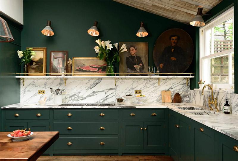 dark green rich kitchen interior