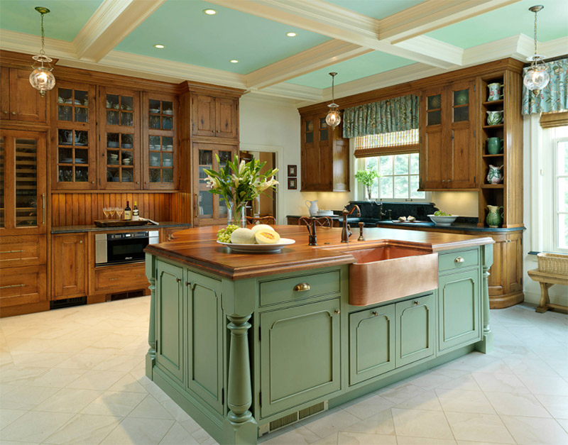 butternut green kitchen farmers sink bronze