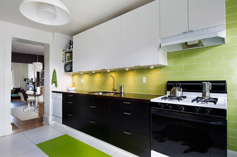 green black white modern kitchen style