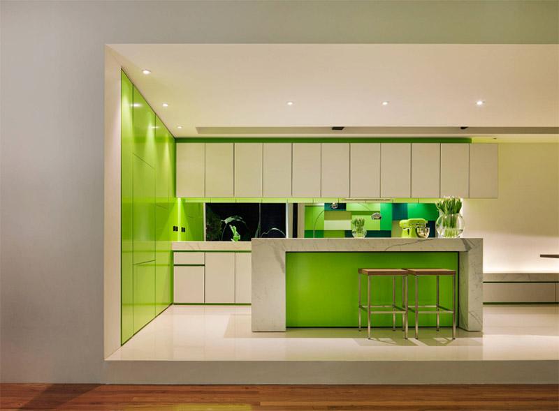 green contemporary kitchen interior