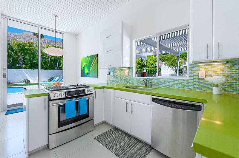 los angeles green modern kitchen design