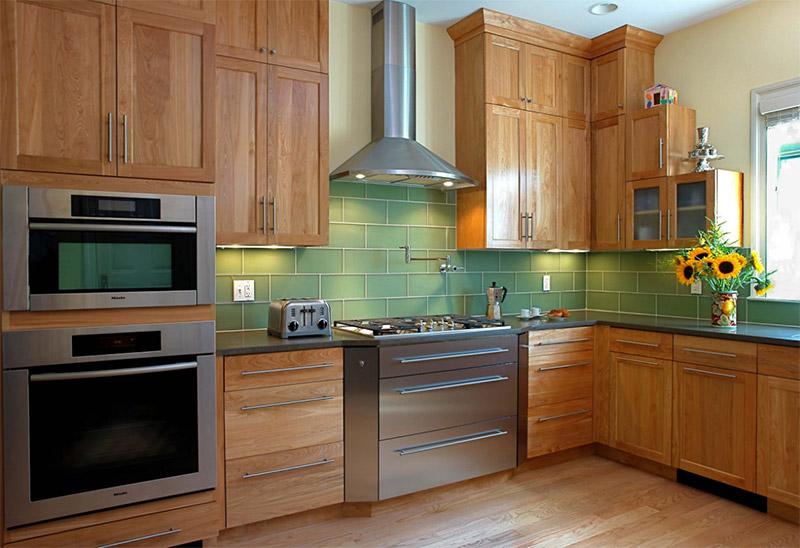 transitional green kitchen design