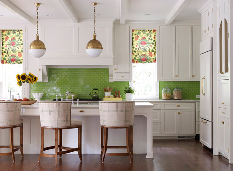 green kitchen tiled backing wall