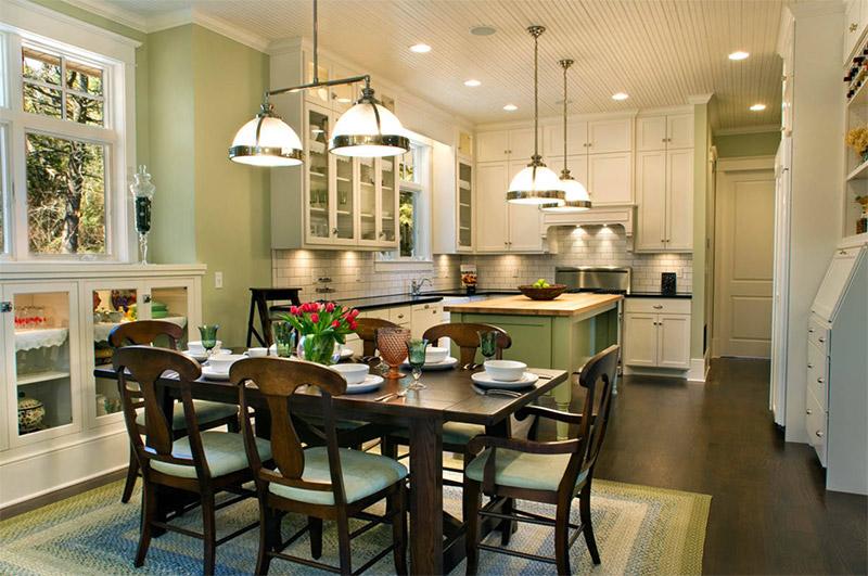 farmhouse green kitchen walls & island