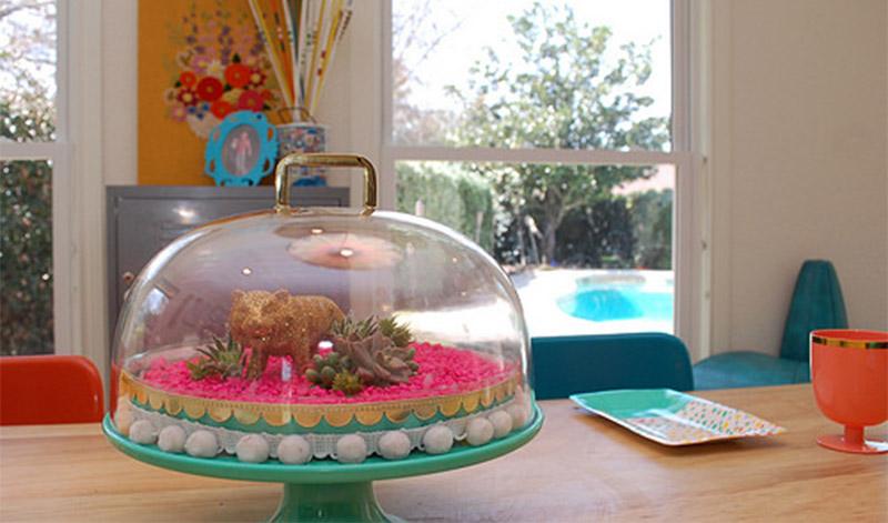 cake stand terrarium diy project