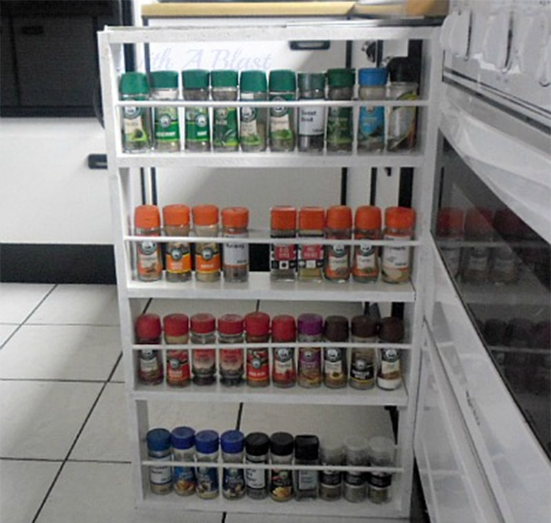sliding door spice rack