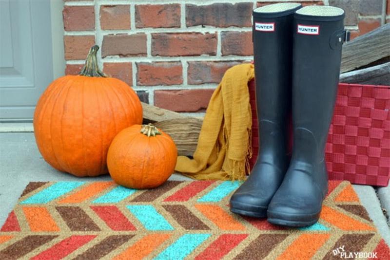 herringbone autumn doormat design