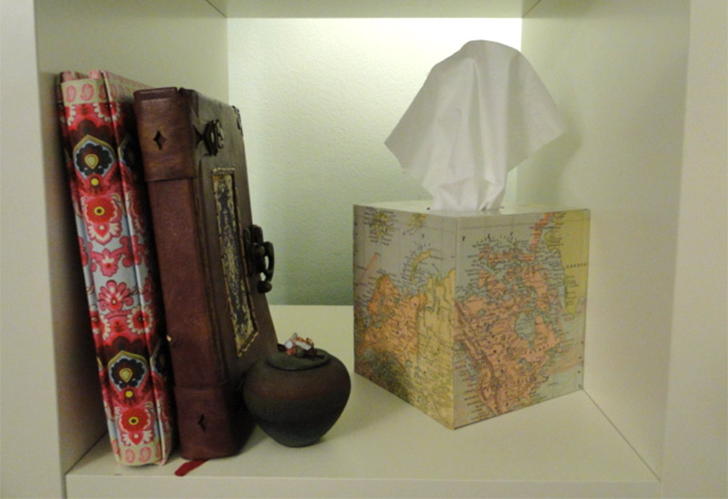 world map tissue box cover