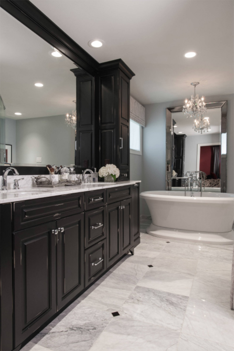dark cabinets master bathroom tub