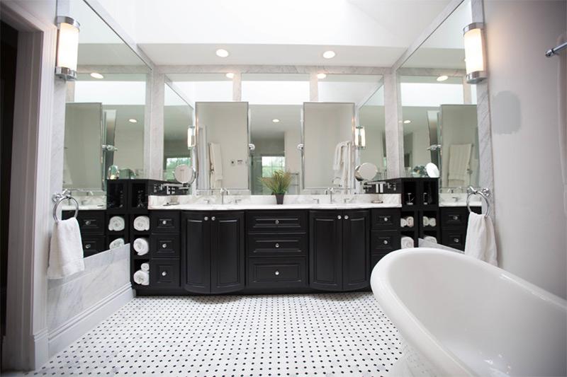 spacious cabinetry dark finish