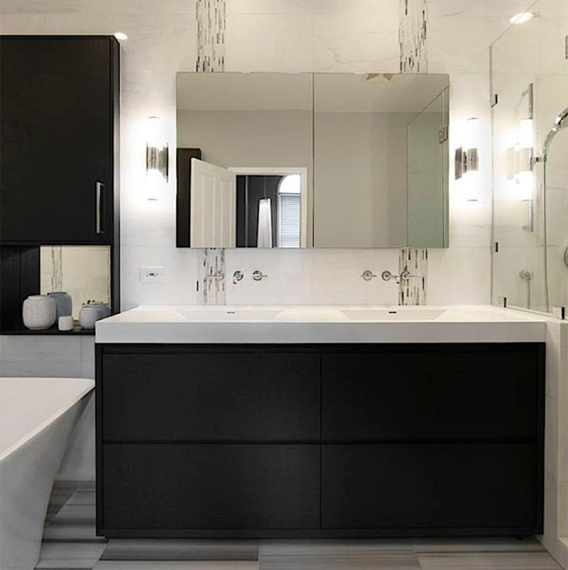 dark countertops bathroom w/ minimal style